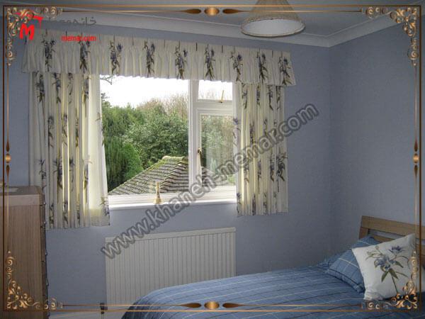 زیبایی ویو پنجره از اتاق خواب تصویر چند مدل پرده