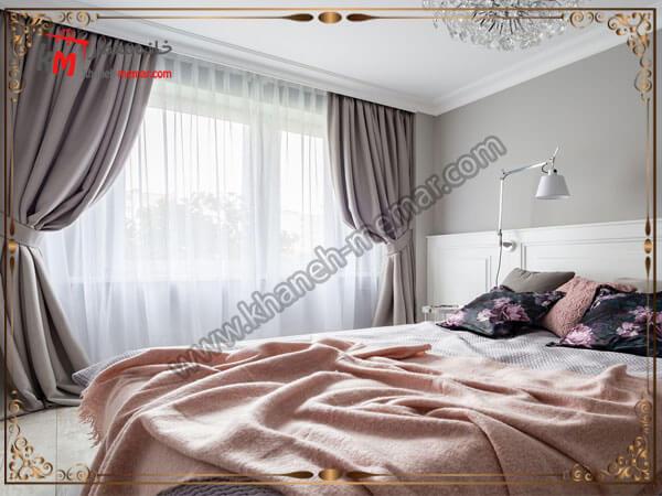 دکور زیبای اتاق خواب همراه با استر تور مدل پرده اتاق خواب