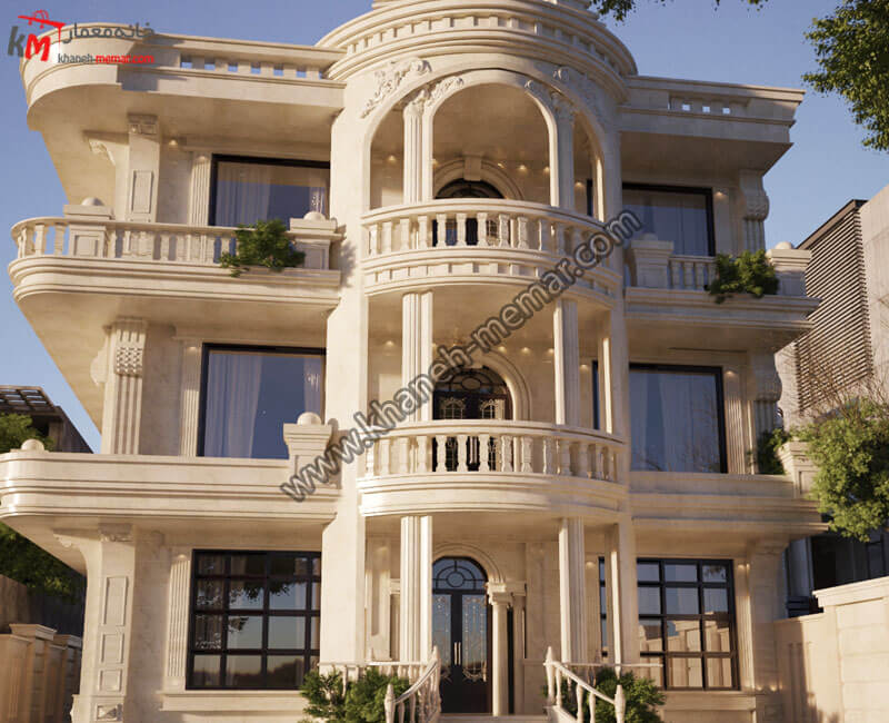 نمای ساختمان سه طبقه کلاسیک