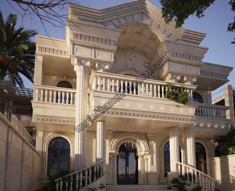 طراحی نما ساختمان با سنگ تراورتن