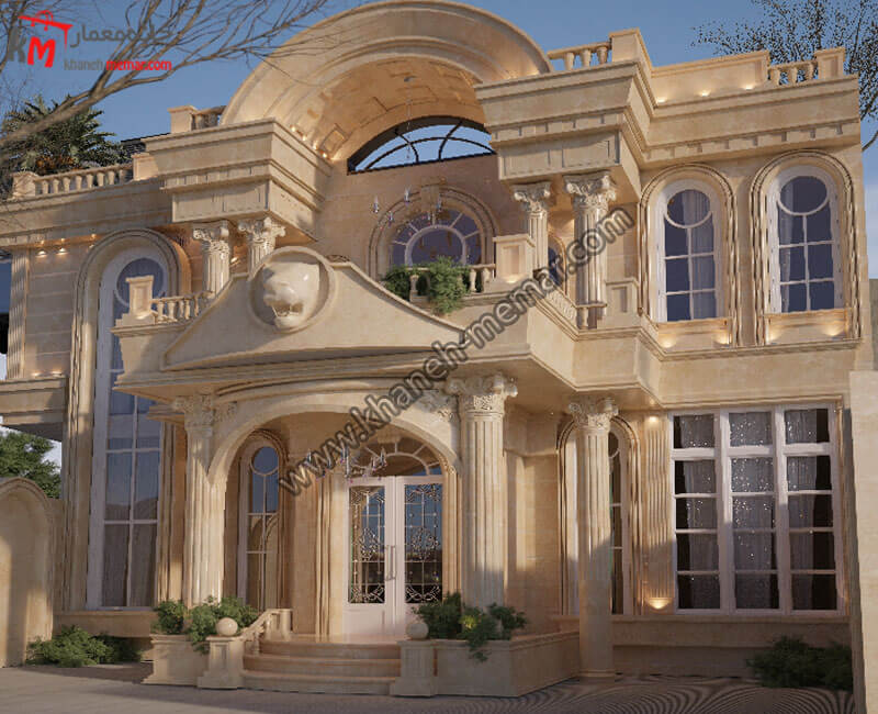 طراحی نما دو طبقه ویلایی با استفاده از سنگ و طراحی کلاسیک