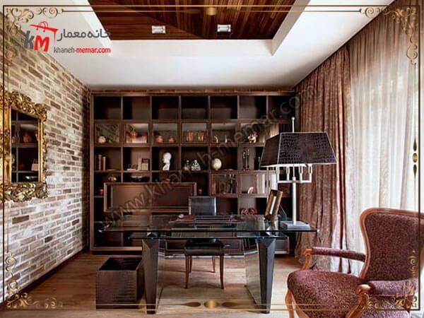 اتاق کاری با طراحی کتابخانه و قفسه