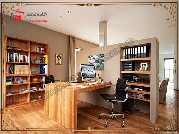 دفتر کاری با کتابخانه زیبا