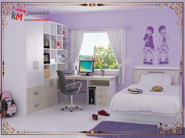 طراحی دکور برای اتاق خواب دختر با تم بنفش
