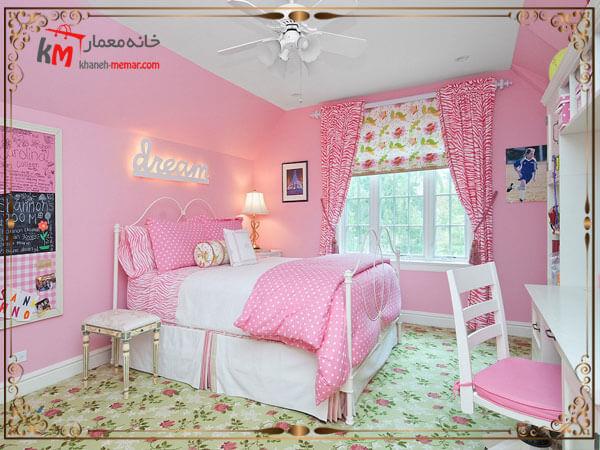 ترکیب رنگ استاندارد در دکوراسیون اتاق کودک دختر