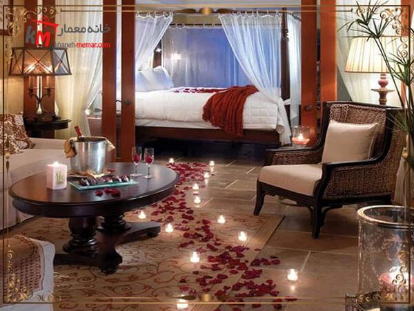 تزیین اتاق خواب عروس با شمع