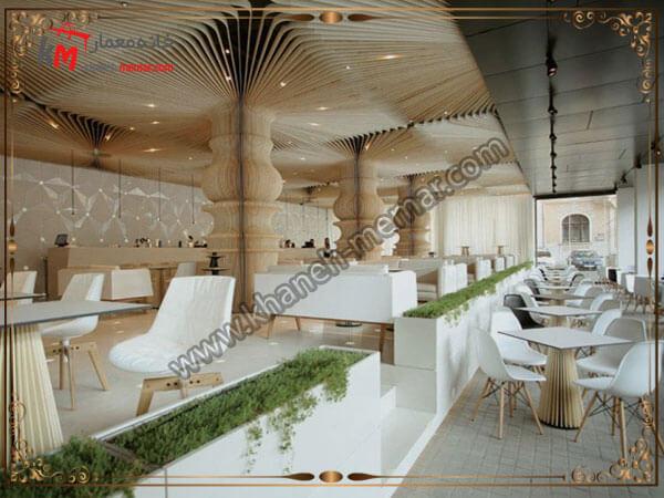 کافه شیک و زیبا و طراحی شده با رنگهای روشن