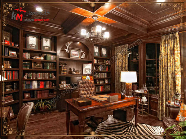 قفسه کتابخانه در اتاق کار