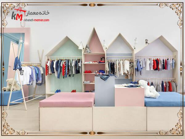 طراحی زیبای دکور داخل مغازه لباس بچگانه