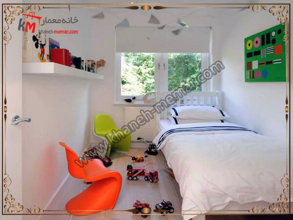 قرار دادن تخت در گوشه اتاق خواب کوچک
