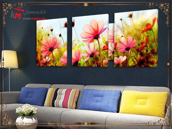 استفاده از تابلو طرح گل در دیوار پشت مبلمان