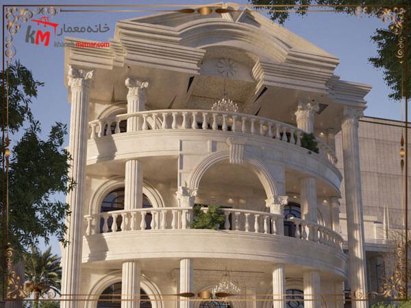 طراحی نمای ساختمان به وسیله سنگ تراورتن