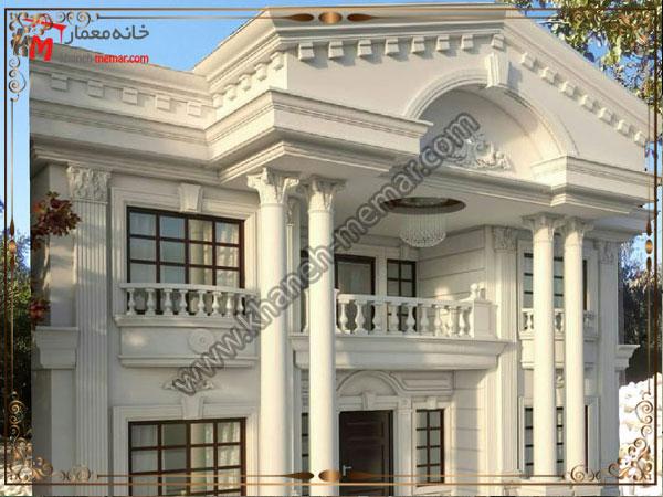نمای ساختمان با سیمان سفید و به سبک رومی