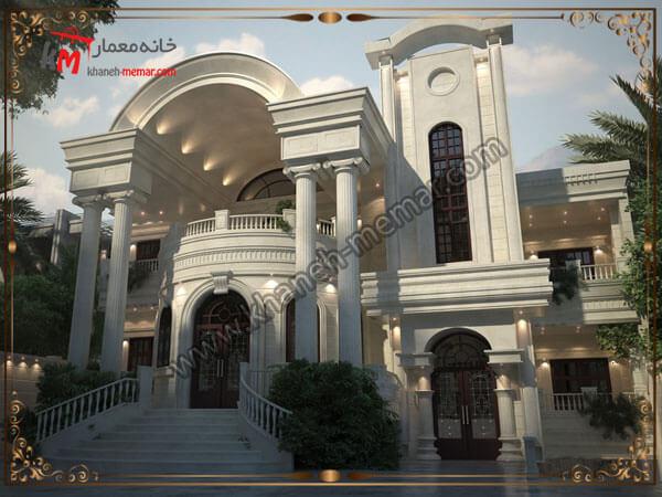 طراحی زیبای نمای ساختمان دوبلکس به سبک کلاسیک