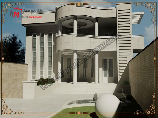 طراحی نمای جذاب ب هسبک نئوکلاسیک یک ساختمان دوبلکس