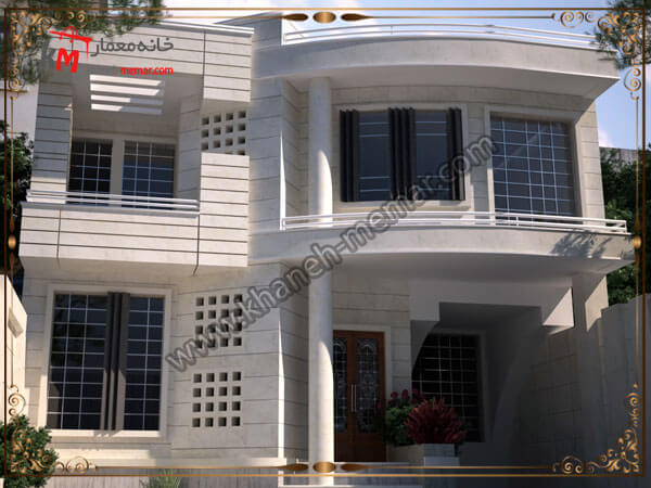 طراحی نمای جذاب به سبک نئوکلاسیک یک ساختمان دوبلکس