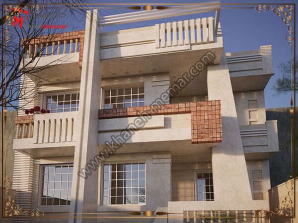 طراحی نما به سبک مدرن برای ساختمان دو طبقه