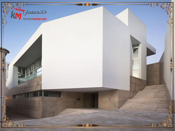 نمای مینبمال ساختمان با استفاده از حجم ساده مکعبی