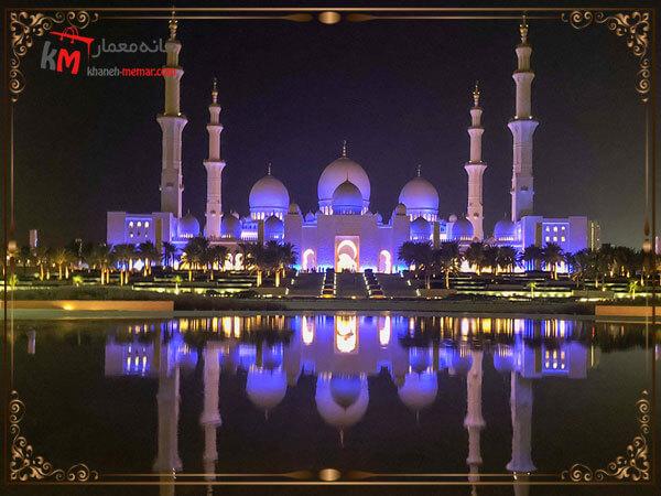 نمای بیرونی مسجد در نور شب