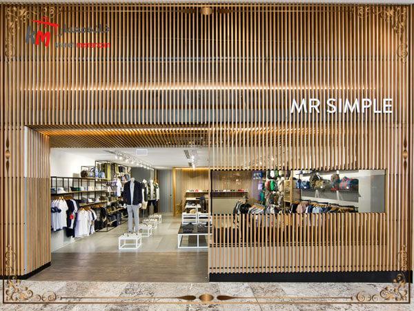 طراحی نمای بیرونی مغازه با متریال چوب