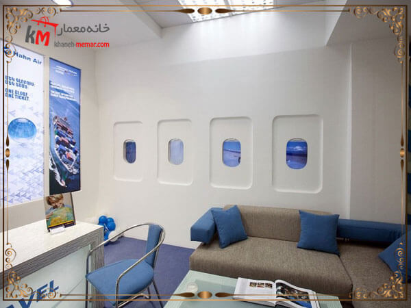 طراحی دکور دفتر خدمات هوایی با حال و هوای داخل هواپیما