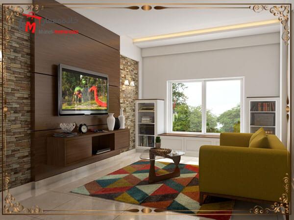 دکور تلویزیون دیواری با استفاده از رنگ تیره