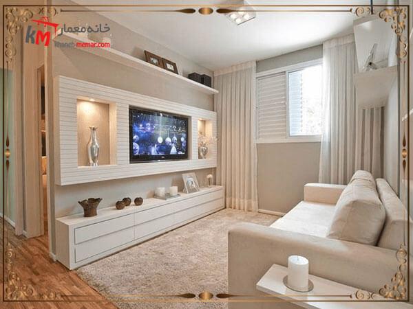 استفاده از چوب و طراحی پشت تلویزیون
