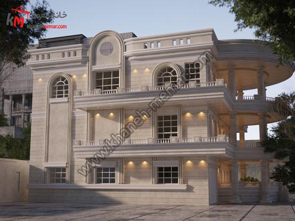 نمای ساختمان ویلایی دوبلکس سه طبقه پروژه 908