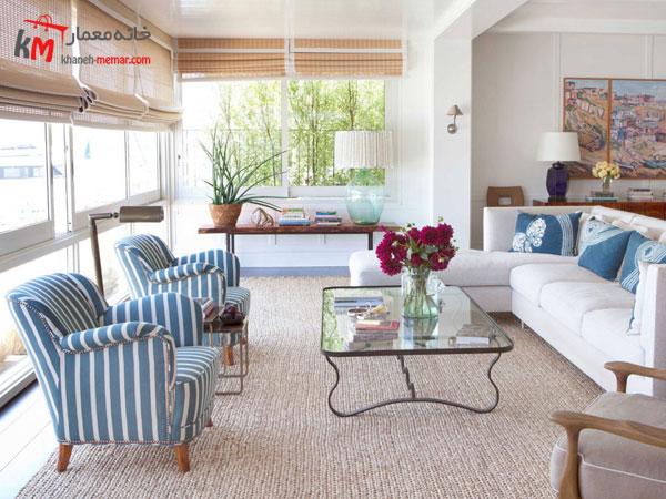 دکور داخلی با رنگهای آبی و سفید