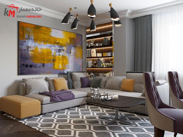 ترکیب رنک سفید و بنفش در سبک آرت دکور
