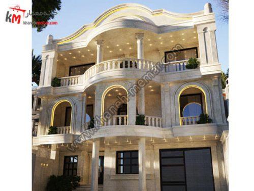نمای خانه سه طبقه پروژه 1039