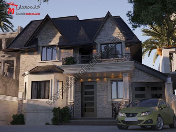نمای ویلا با سقف شیروانی پروژه 996