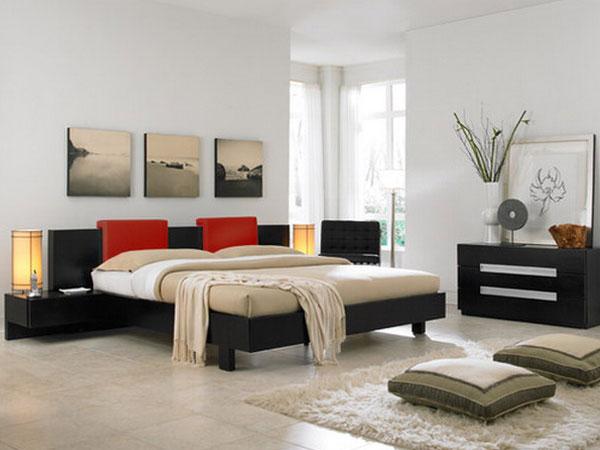 دکور داخلی اتاق خواب به رنگ سفید و ترکیب آن با قهوه ایی