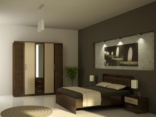 اتاق خواب کوچک با ترکیب رنگی کرم و قهو هایی