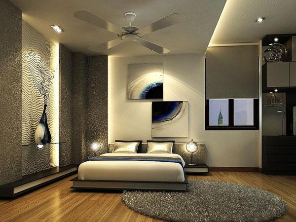 استفاده از فرش با بافت بلند و دایره ایی شکل در اتاق خواب